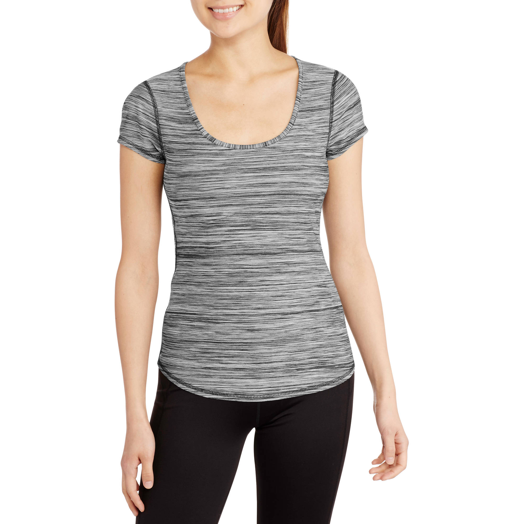 Juniors' Dri-More Scoop Neck Melange Tee