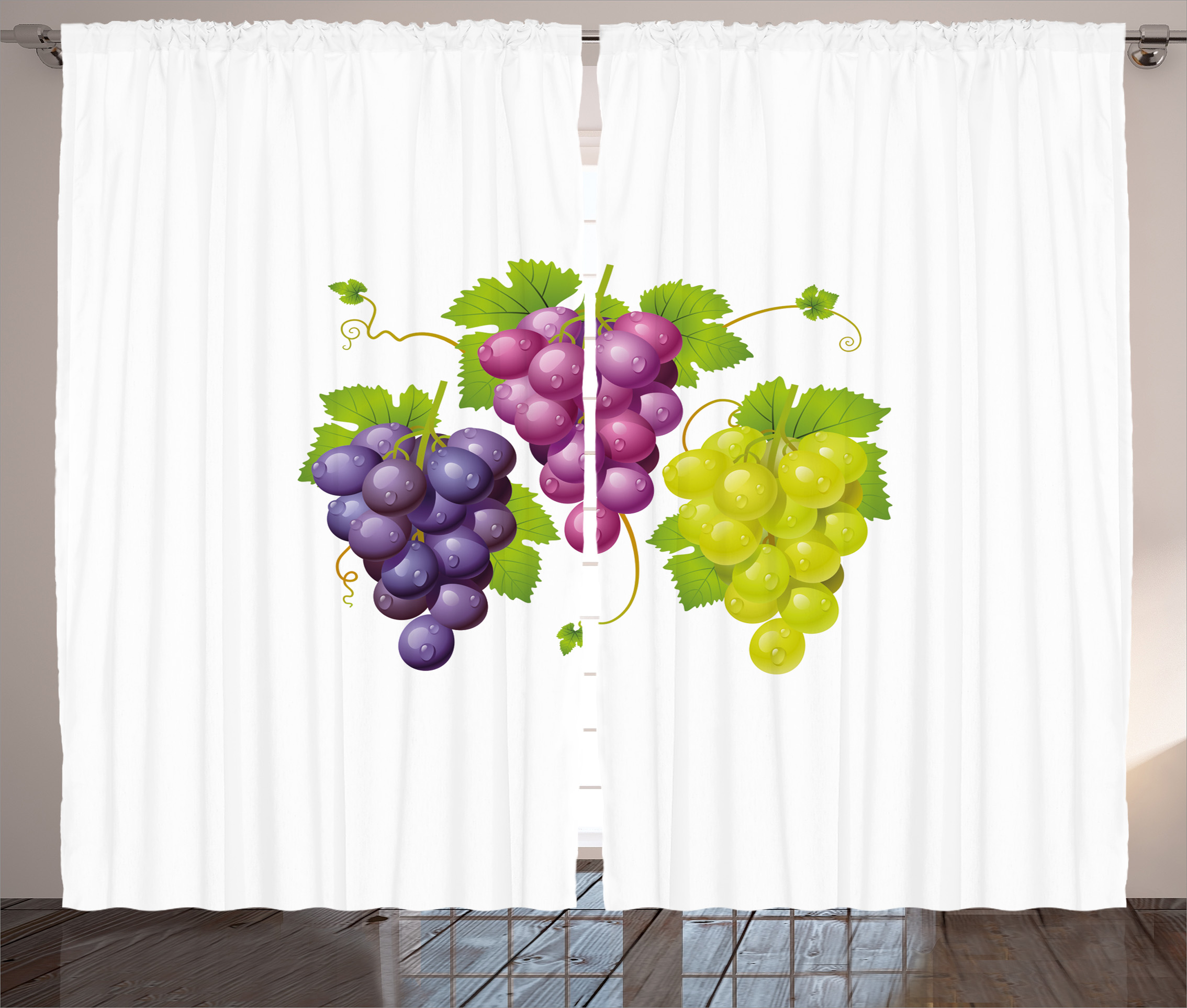 Grapes Home Decor Curtains 2 Panels Set Three Cluster Of Ivy Burgundy Region Blending Fresh Picture Artwork Window Drapes For Living Room Bedroom 108w X 84l Inches Purple Green By Ambesonne