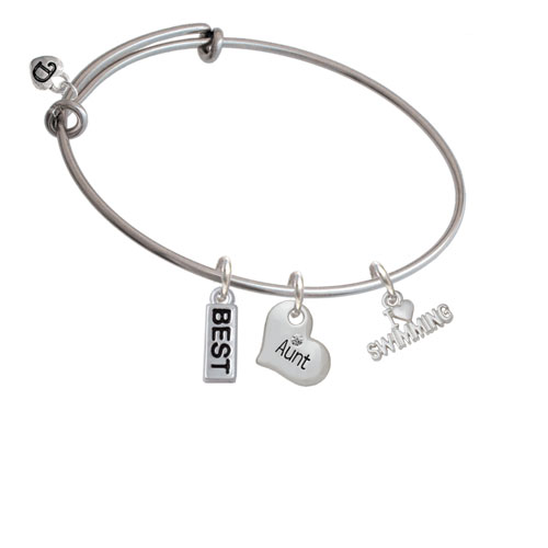 I Heart Swimming Big Sister Heart Expandable Bangle Bracelet by Delight and Co.