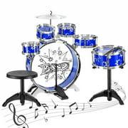 11-Piece Kids Starter Drum Set w/ Bass Drum, Tom Drums, Snare, Cymbal, Stool, Drumsticks - Blue