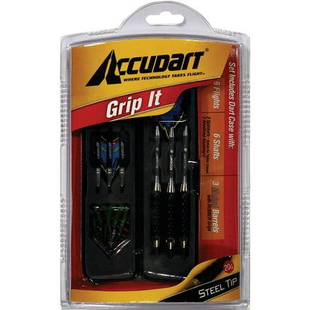 Accudart Grip It Steel Tip Dart Set Includes Flights, Shafts, Nickel Barrels, and Dart Set