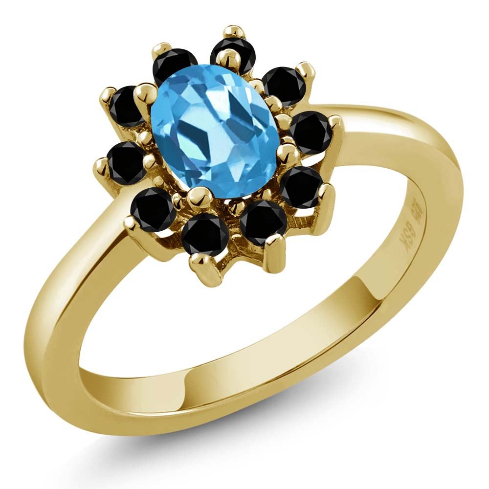 1.13 Ct Oval Swiss Blue Topaz Black Diamond Gold Plated Sterling Silver Ring