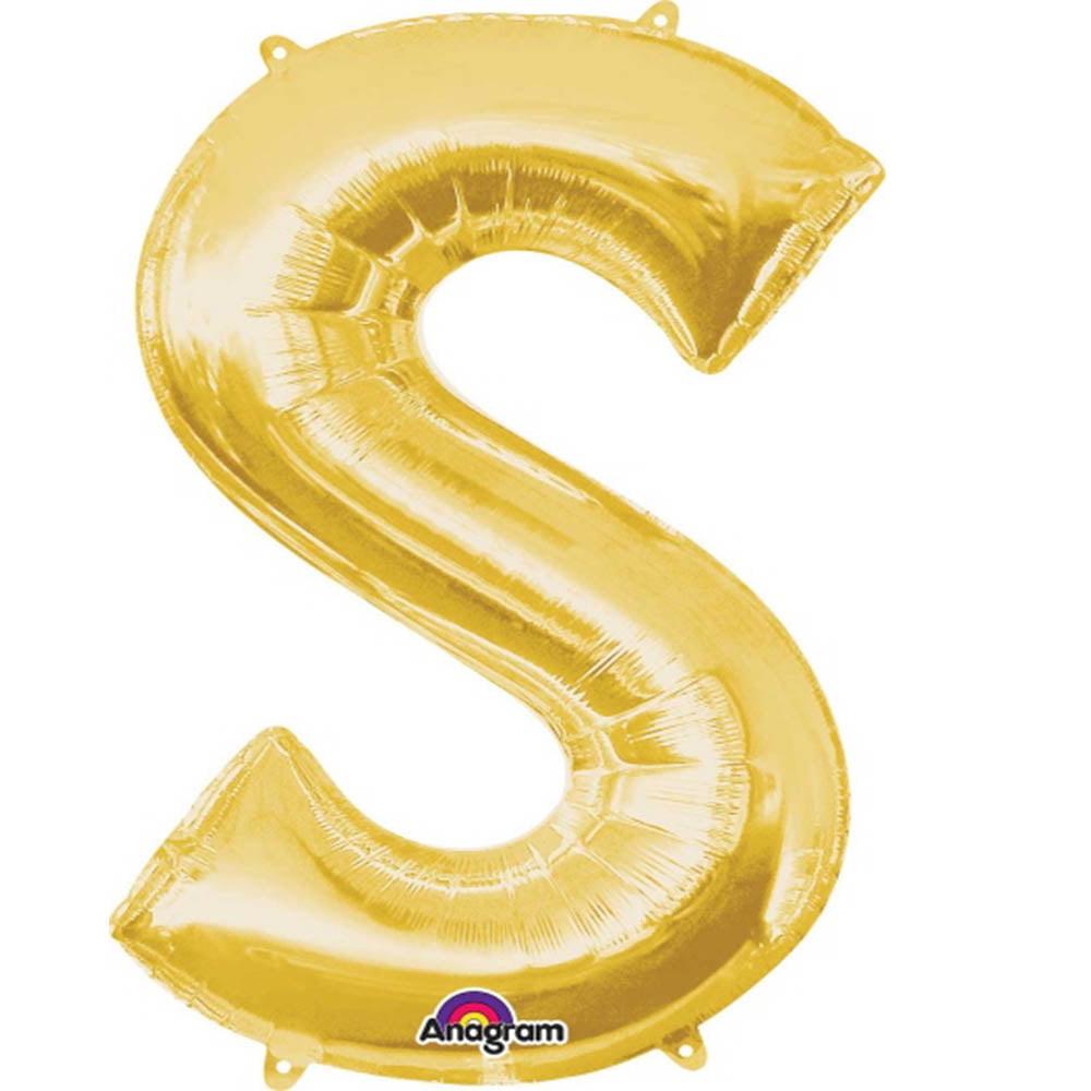 """Giant Gold Letter S Foil Balloon 35"""""""