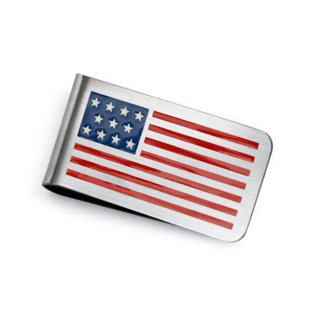Patriotic USA American Flag Red White Blue Stars Stripes Money Clip For Men Plain Engravable Credit Card Stainless (Buffalo Money Clip)