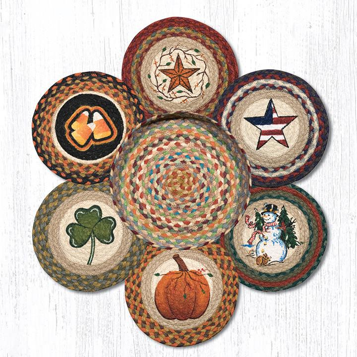 "Earth Rugs TNB-328 All Season Trivets in a Basket 10""x10"""