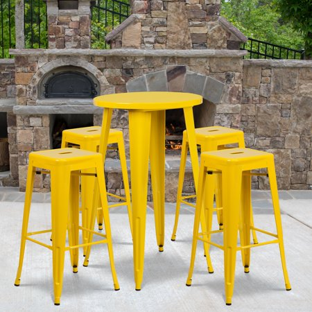 Magnificent Flash Furniture 24 Round Metal Indoor Outdoor Bar Table Set With 4 Square Seat Backless Barstools Multiple Colors Customarchery Wood Chair Design Ideas Customarcherynet