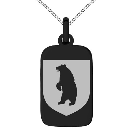 Stainless Steel Bear Ferocity Coat of Arms Shield Engraved Small Rectangle Dog Tag Charm Pendant Necklace Chicago Bears Dog Tag