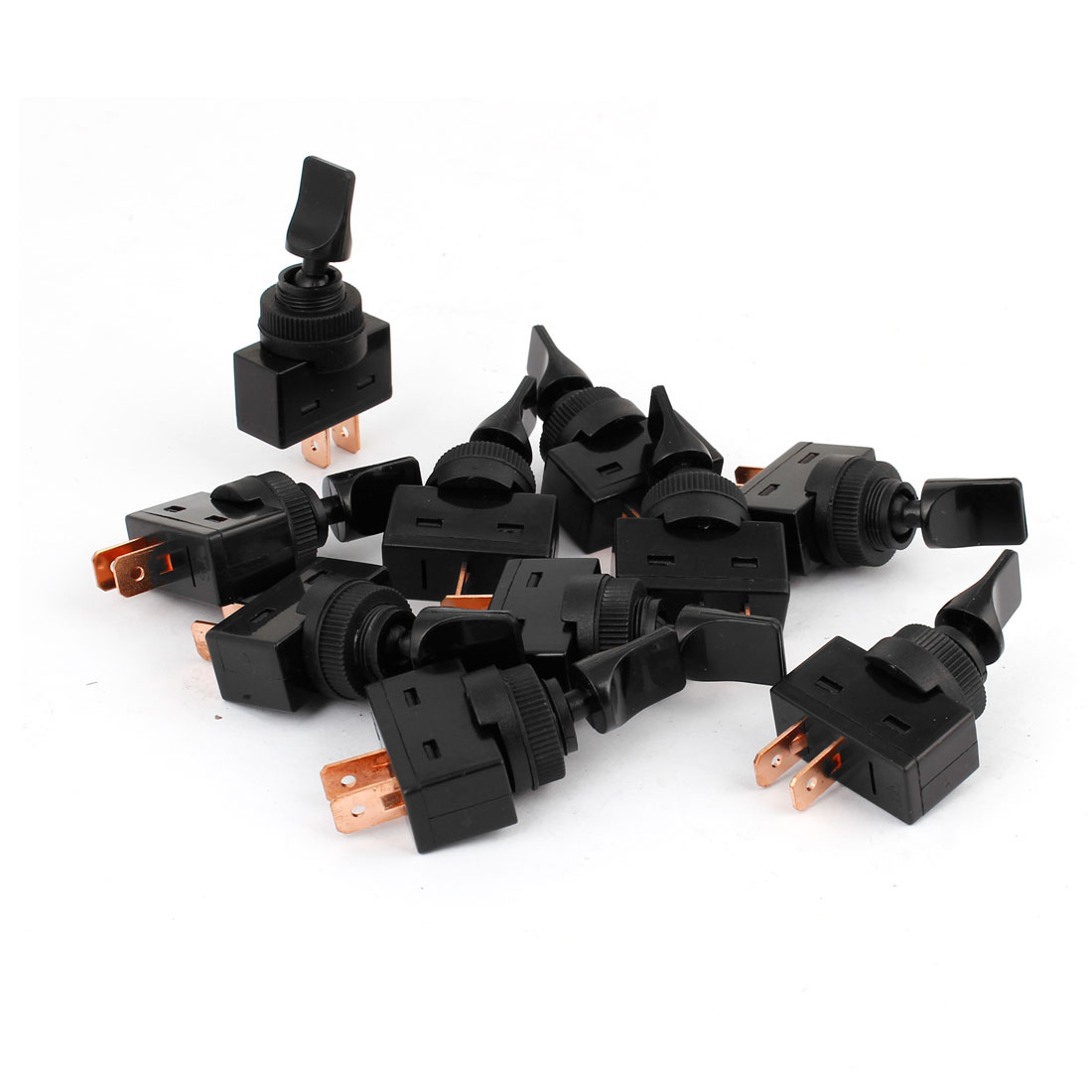 Auto Car DC 12V 25A ON/OFF Toggle Switch Black Silver Tone 10 PCS