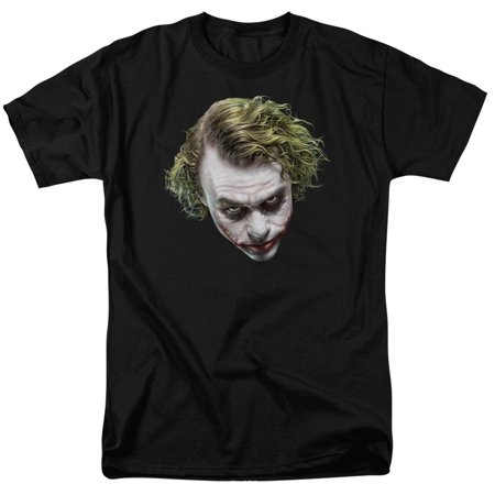 Dark Knight Movie Joker Heath Ledger Painted Head Adult T-Shirt