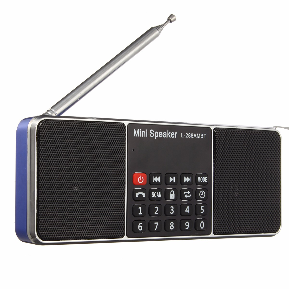 L-288 Portable Digital Stereo AM FM Radio Clock with Alarm Media Dual Speaker Cell Phone USB Charger MP3 Music Player TF Card/USB Disk with LED Screen Display Rechargeable