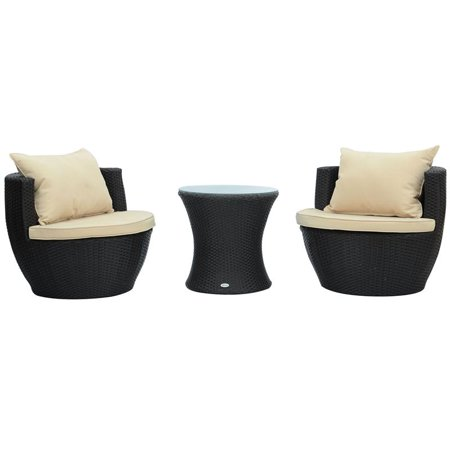 Outsunny 3 Piece Rattan Wicker Outdoor Stacking Patio