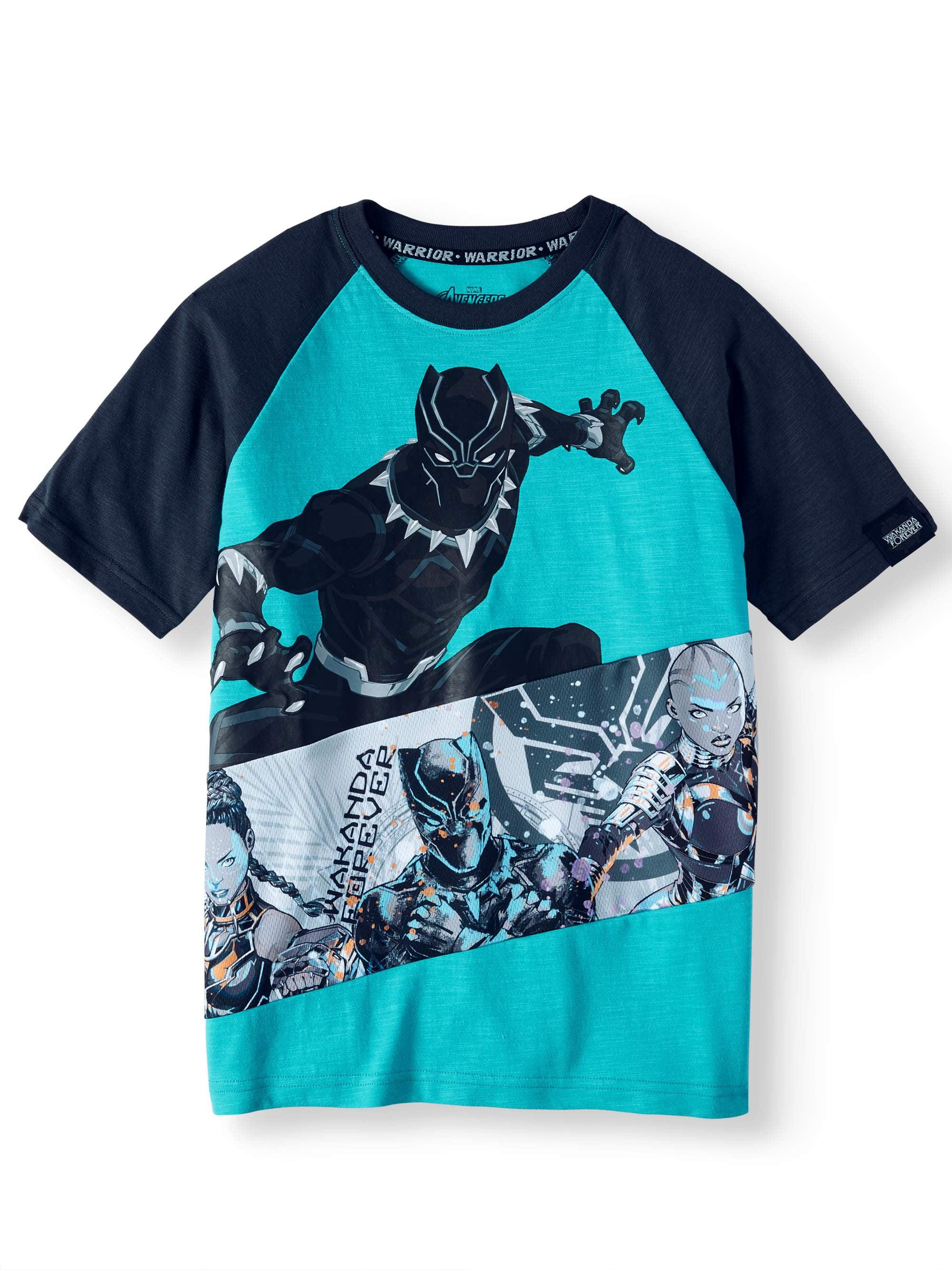 Marvel Little Boys Black Panther Movie Big Face Short Sleeve T-Shirt Sizes 4-7