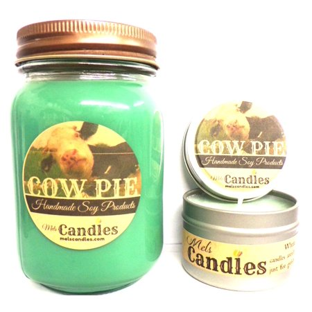 COMBO - Cow Pie  - 16 Ounce Country Jar Candle and 4 Ounce Candle Tin -Smells Like Fresh Cut Grass