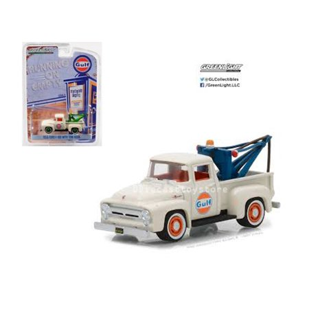 GREENLIGHT 1:64 RUNNING ON EMPTY SERIES 4 - 1956 FORD F-100 WITH DROP-IN TOW HOOK - GULF OIL 41040-C
