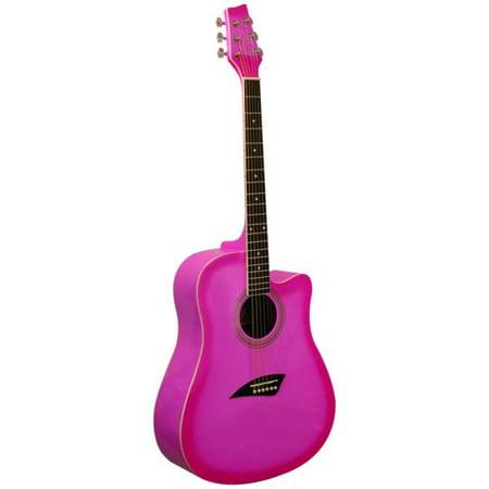 kona k1 series acoustic dreadnought cutaway guitar gloss pink burst. Black Bedroom Furniture Sets. Home Design Ideas
