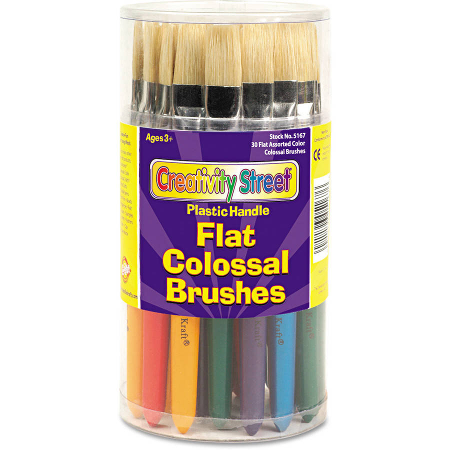 Creativity Street Colossal Brush, Natural Bristle, Flat, 30/Set