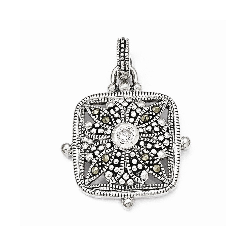 Sterling Silver Marcasite and CZ Pendant