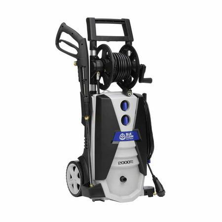 Image of AR Blue Clean 2000 PSI Electric Pressure Washer, Spray Gun, Steel Wand, 30 Foot High-Pressure Soft PU Hose, 35 Foot PowerCord, 48 oz Detergent Tank, Aluminum swivel garden hose adapter, AR390SS