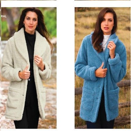Totes Women's 612292 Berber Fleece Jacket Dusty Blue 2XL Berber Embroidered Jacket