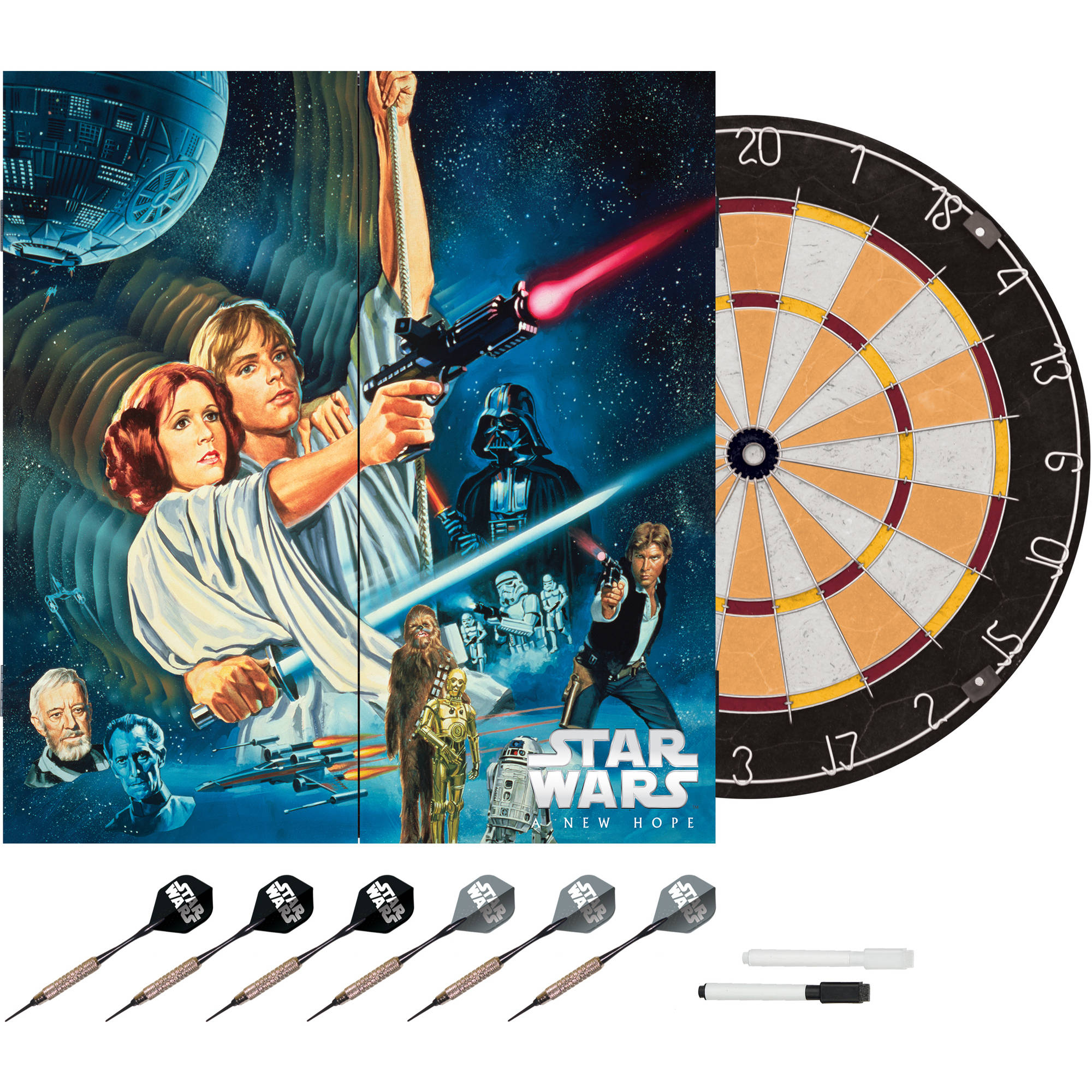 Star Wars Classic New Hope Movie Bristle Dartboard with Cabinet by