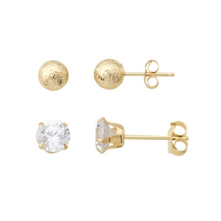 10K Yellow Gold 5mm Ball Stud And 5mm Cubic Zirconia Stud Earrings Set