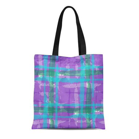 ASHLEIGH Canvas Tote Bag Watercolor Plaid Hand Crossing Brush Strokes for Rustic Check Reusable Shoulder Grocery Shopping Bags Handbag
