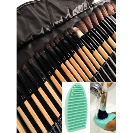 - 32pcs Professional Soft Cosmetic Eyebrow Shadow Makeup Brush Tool Set Kit Bag+Makeup Brush cleaner