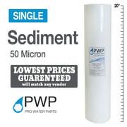 Single 50 Micron 20x4.5 Sediment Water Filter Melt Blown Spun Poly RO
