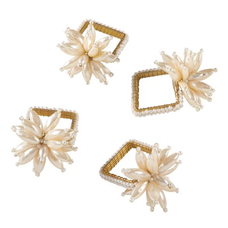 Saro Lifestyle Faux Pearl Flower Design Event Napkin Ring - Set of 4 ()
