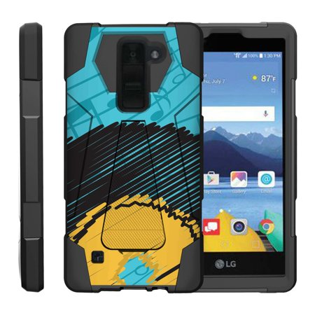 TurtleArmor ® | For LG K8V VS500 | LG K8 V [Dynamic Shell] Dual Layer Hybrid Silicone Hard Shell Kickstand Case - Blue Music Notes ()