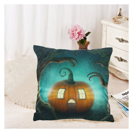 ZKGK Halloween Pumpkin Haunted House Zippered Cushion Pillowcase 18 x 18 ( Twin Sides ),Orange Pumpkin in the Forest Wood Spider Web Pillow Cases Cover Set Shams Decorative for Couch Bed](Twin Cities Church Halloween)