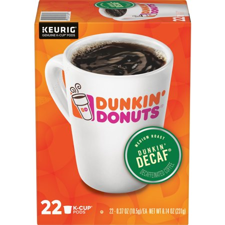 Dunkin' Donuts Decaf K-Cup Coffee Pods, Medium Roast, 22 Count For Keurig and K-Cup Compatible