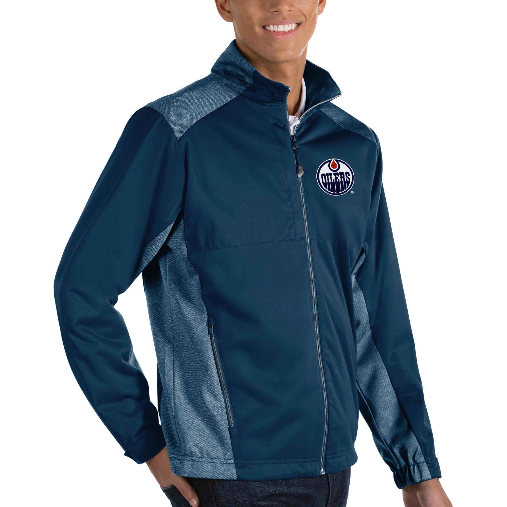 Edmonton Oilers Antigua Revolve II Full Zip Jacket - Navy