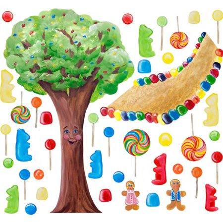 Cotton Candy Land Whimsical Tree Wall Decals  Tree  14 75  X 23   Gumdrop Path 14  X 10 5   10 Red  Blue  Green And Yellow 4 5  5  Lollipops 2 X 7 5    2 X    By Instant Murals