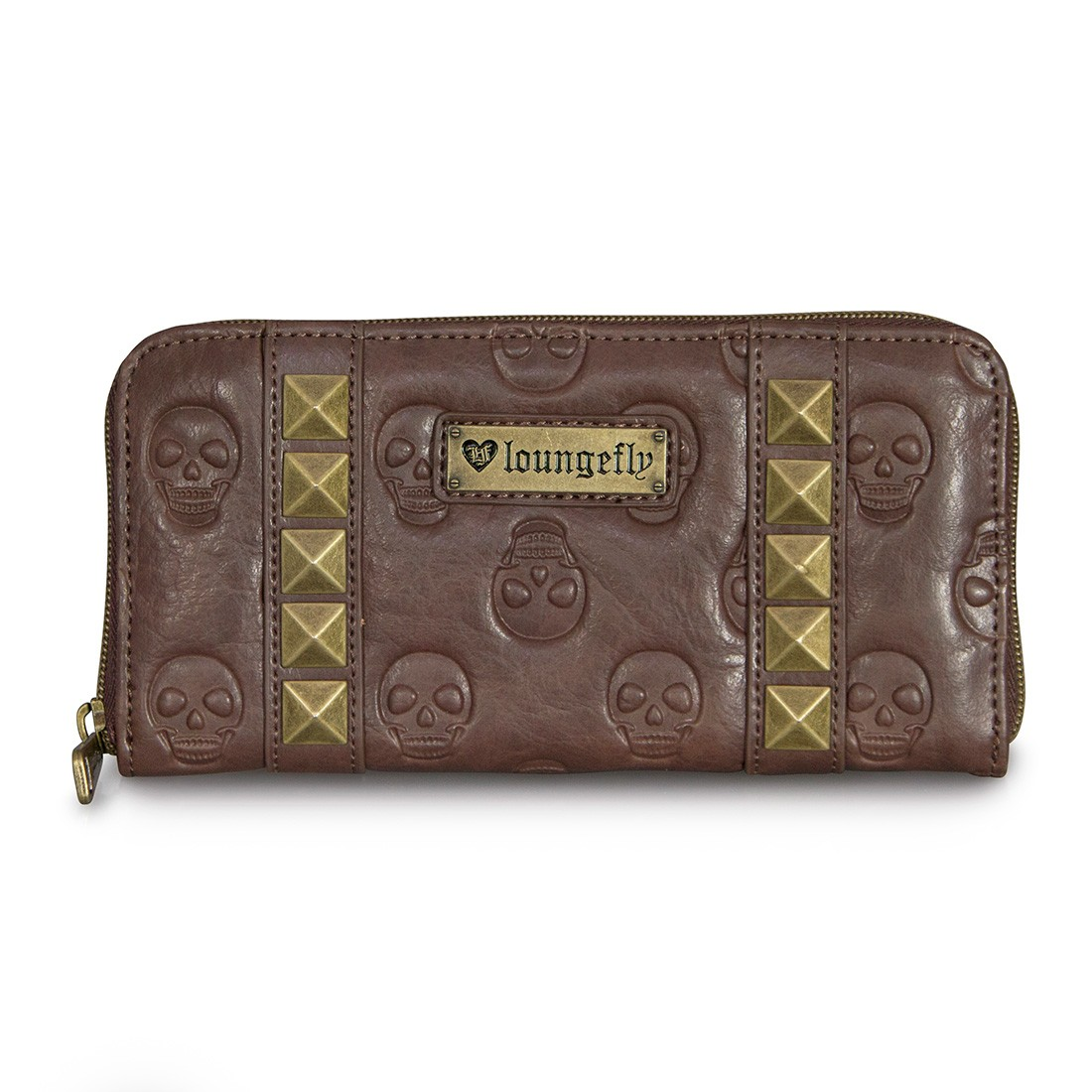 Skulls & Pyramid Brown Embossed Clutch Wallet by Loungefly
