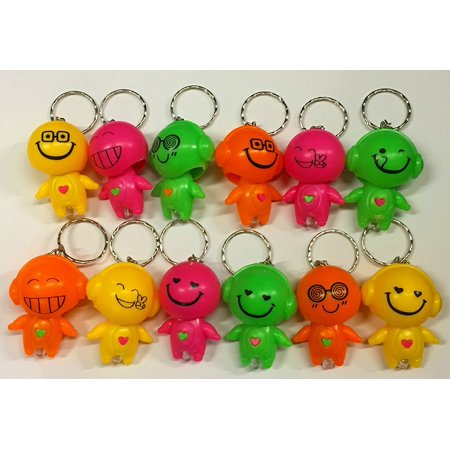 6 Bright Emoji Emoticon Bobblehead Mini Flashlight Keychains by TM, BRIGHT LED By DISCOUNT PARTY AND NOVELTY