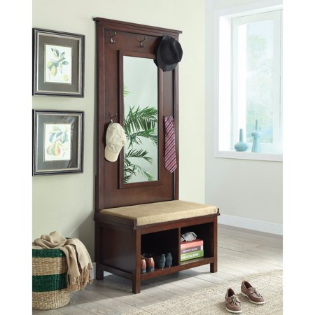 Hall Tree With Storage Bench And Mirror, Brown ()