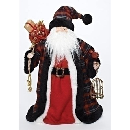 "16"" Plaid Santa with Bird and Birdcage Christmas Tree Topper - Unlit"