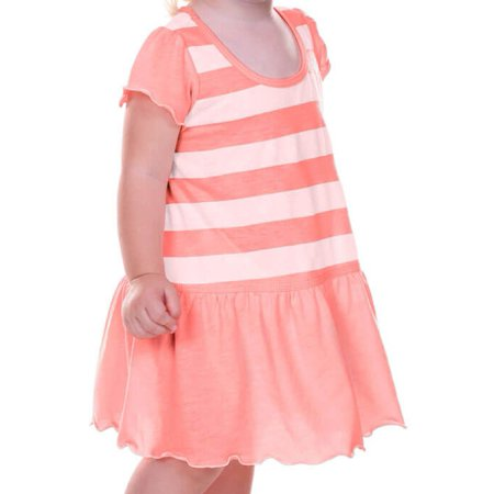 Kavio! Infants Girls Striped Jersey Scoop Neck Flutter Sleeve Dress Striped White/Flamingo 24M (Personalized Infant Dresses)