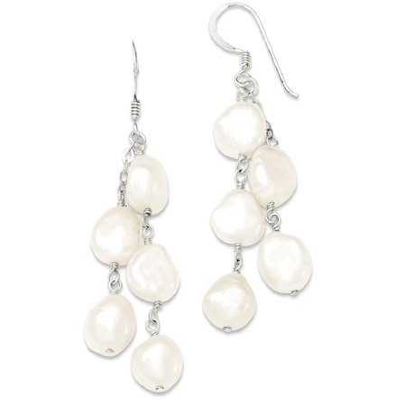 925 Sterling Silver 2 Strand Freshwater Cultured Pearl Drop Dangle Chandelier Earrings Fine Jewelry Ideal Gifts For Women Gift Set From (Drop Pearls Freshwater Strands)