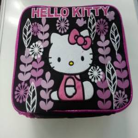 Lunch Bag - Hello Kitty - Black Flowers Kit Case New 822160
