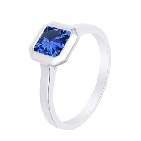 Asscher Cut Simulated Blue Sapphire Solitaire Band Ring 14k White Over Sterling Silver (1.25 Cttw)-9 Asscher Sapphire Ring