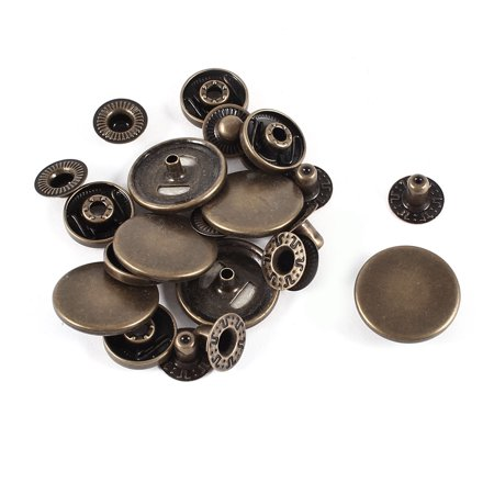Uxcell Bronze Tone 20mm Snap Fasteners Popper Press Stud Sewing Leather Buttons 6 - Washed Leather Button