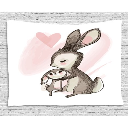 Kids Tapestry, Sketch Artwork of a Young Bunny with His Mom Happy Mother`s Day Theme, Wall Hanging for Bedroom Living Room Dorm Decor, 60W X 40L Inches, Pale Pink Taupe -