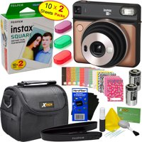 Fujifilm instax SQUARE SQ6 Instant Film Camera (Blush Gold) + Instax Square Film (20 Sheets) + 3 Color Filters + Carrying Case + 20 Stickers + 2 Batteries + Strap + HeroFiber® Gentle Cleaning Cloth