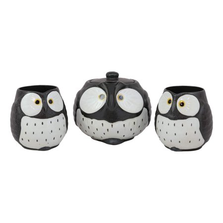 Ebros Gift Whimsical Black Fat Owl Ceramic 16oz Tea Pot With 2 Cups Set With Stainless Steel Strainer As Teapots And Teacups Home Decor Of Owls Owlet Nocturnal Bird](Teapot Planter)