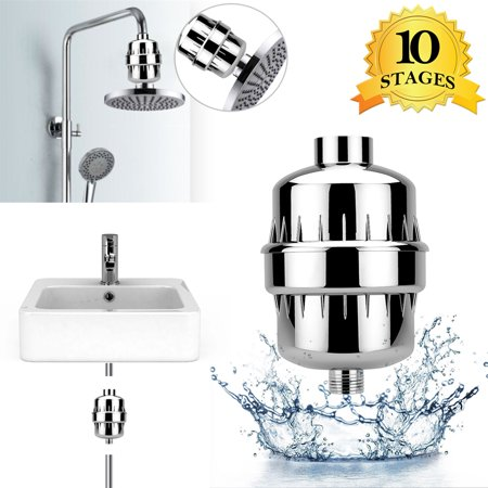 Shower Filter, WeGuard 10-Stage Universal Shower Head Water Filter with 2 Cartridges for Hard Water - Removing Chlorine Fluoride Heavy Metal - For All Types of (Ava Shower Filter For Chlorine And Fluoride)