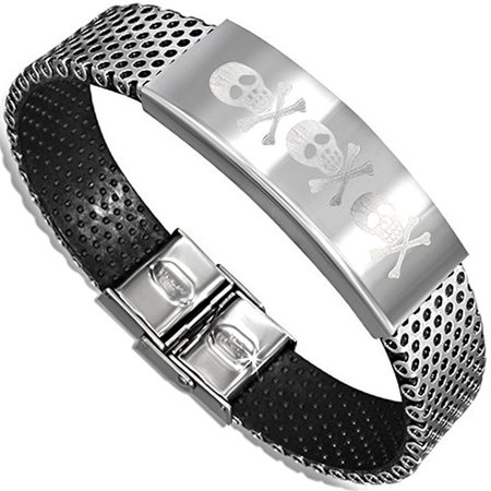 Stainless Steel with Black Rubber Pirate Skull Crossbones Watch Style Bracelet
