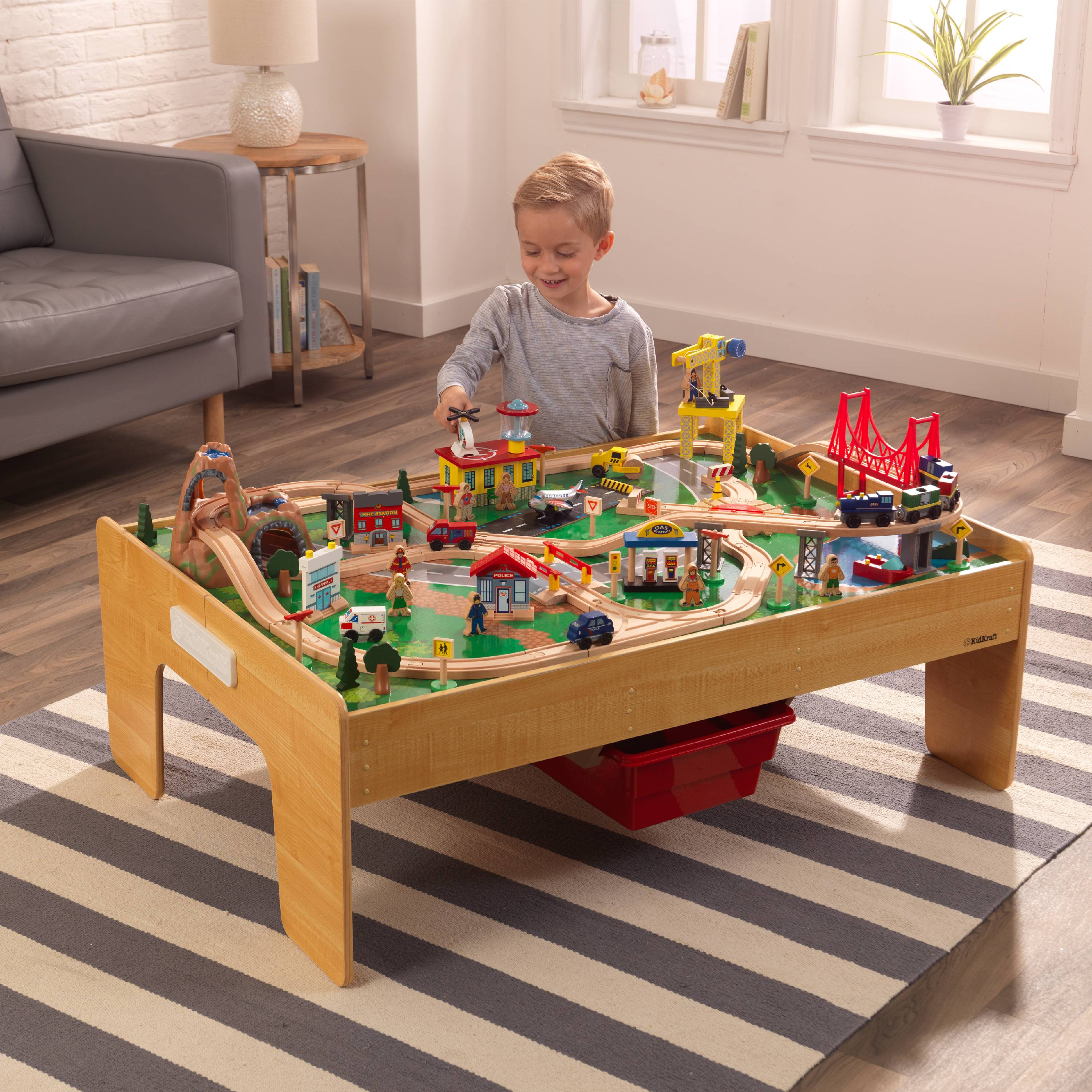 KidKraft Adventure Town Railway Train Set & Table with EZ Kraft Assembly™ with 120 accessories included