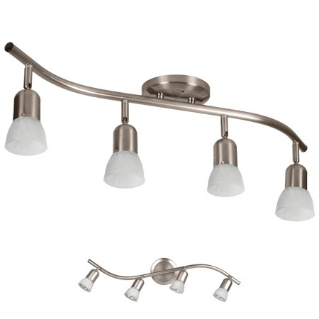 - 4 Globe Track Lighting Wall or Ceiling Mount Light Fixture, Brushed Nickel